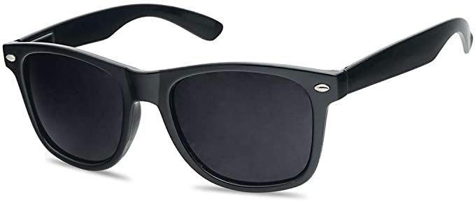 Amazon.com: Classic Black 80's Styles Sunglasses with Super Dark Solid Black Lenses: Clothing
