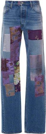 Attico Patchwork Straight-Leg Jeans