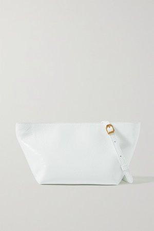 Adeline Crinkled Patent-leather Shoulder Bag - White