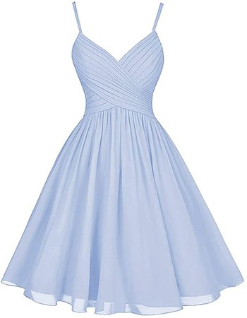 Amazon.com: Short V Neck A-Line Spaghetti Strap Beachy Wedding Bridesmaid Formal Dresses for Women Wedding for Juniors Periwinkle: Clothing