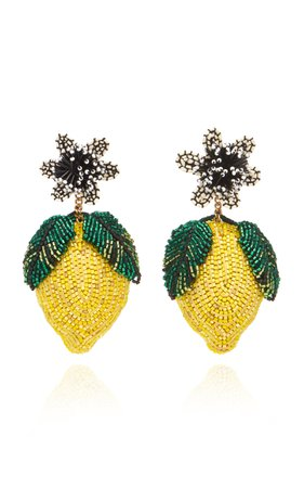Mignonne Gavigan Lemon Lux Beaded Raffia Earrings