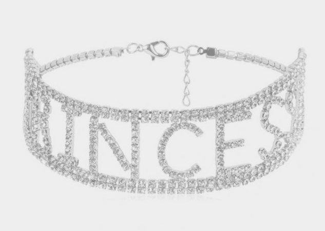 Silver Rhinestone Princess Choker