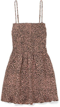 Rouen Shirred Leopard-print Linen Mini Dress - Leopard print
