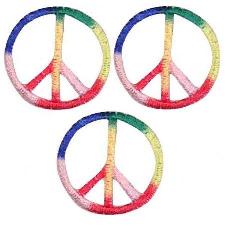 patch parlor Mini Peace Sign Patch Applique Rainbow Multi Color 1 | Etsy