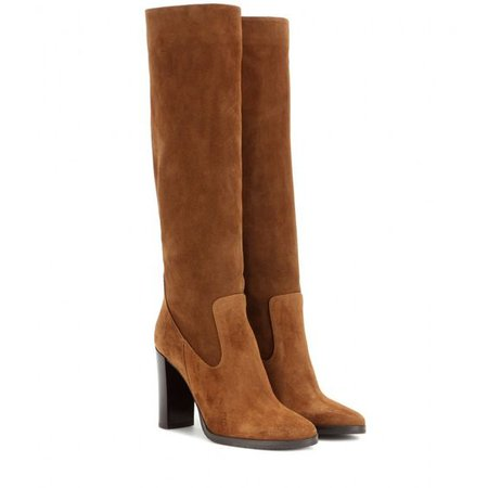 Jimmy Choo Women's Brown Honor 95 Suede Knee-high Boots