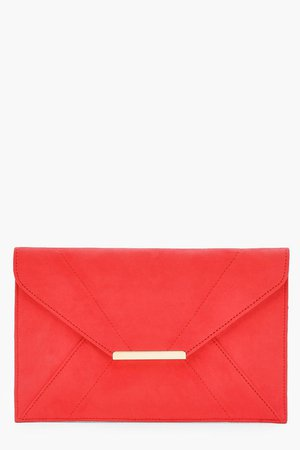 Panelled Suedette Clutch | Boohoo