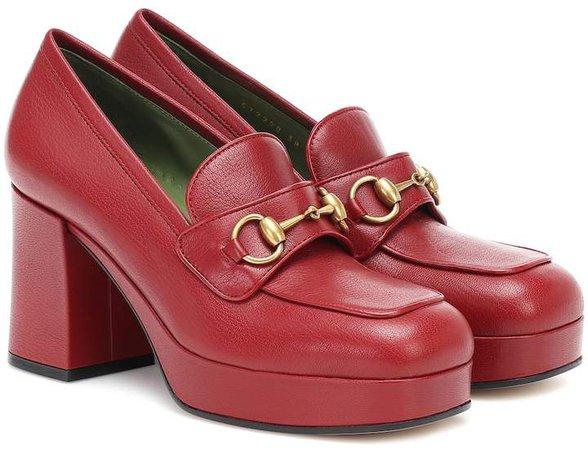 Horsebit leather loafer pumps