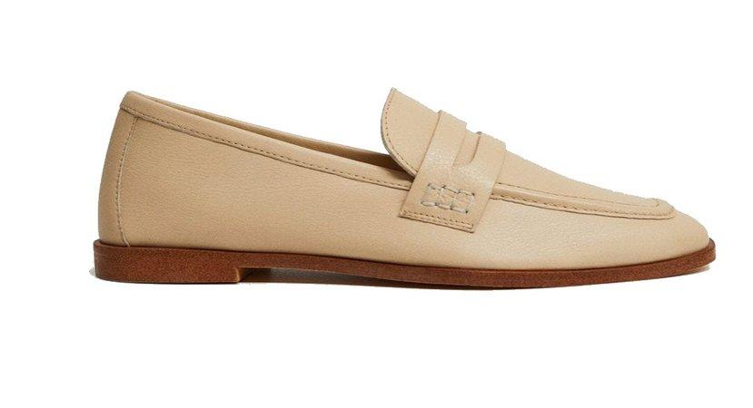 Mango Light Brown Leather Flats