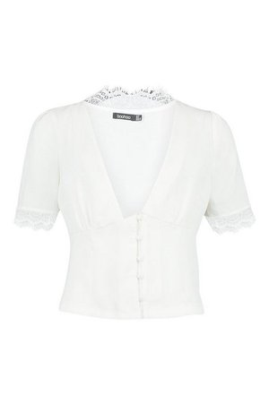 Woven Lace Trim Button Through Blouse | Boohoo white