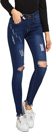 SweatyRocks Women's Hight Waisted Stretch Ripped Skinny Jeans Distressed Denim Pants at Amazon Women's Jeans store