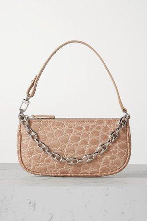Rachel Mini Chain-embellished Croc-effect Leather Shoulder Bag - Peach