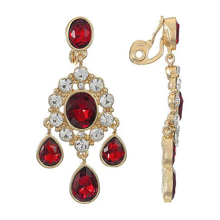 Monet Jewelry 1 Pair Clip On Earrings, Color: Red - JCPenney