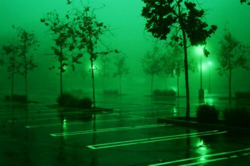 green parking lot aesthetic