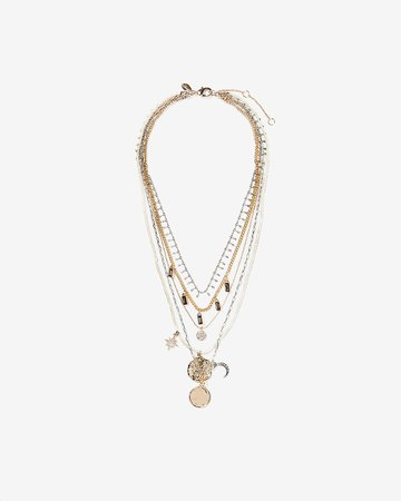 Five Row Charm Necklace | Express