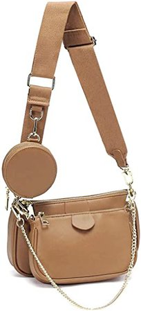 Small Crossbody Bag for Women Shape Golden Zippy Handbags with Coin Purse including 3 Size Bag (Khaki): Handbags: Amazon.com