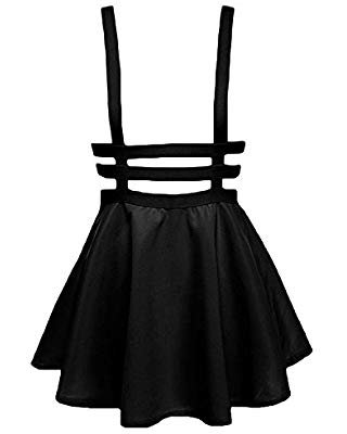 Urban CoCo Womens Elastic Waist Pleated Short Braces Skirt at Amazon Women's Clothing store