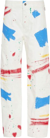 Simon Miller Cargo Paint-Splashed Cotton Wide-Leg Jeans Size: 23