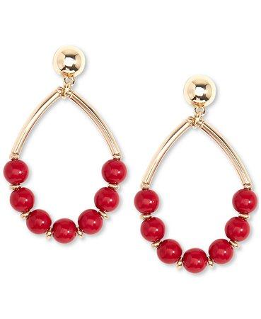 Zenzii Gold-Tone Beaded Open Drop Earrings & Reviews - Earrings - Jewelry & Watches - Macy's