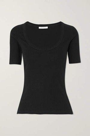 Ribbed Stretch-organic Cotton-jersey T-shirt - Black