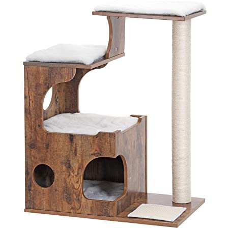 Amazon.com|FEANDREA 34.6 inches Cat Tree, Medium Cat Tower with 3 Beds and House, Cat Condo, Sisal Post and Washable Faux Fur, Vintage, Rustic Brown and White UPCT70HW