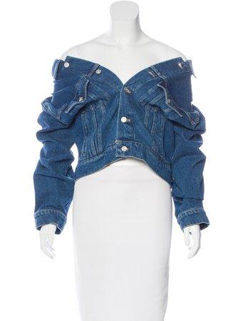 Off-the-shoulder Jean jacket