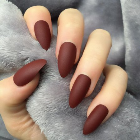 Burgundy Matte Almond – Doobys Nails