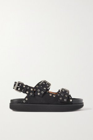Ophie Embellished Suede Sandals - Black