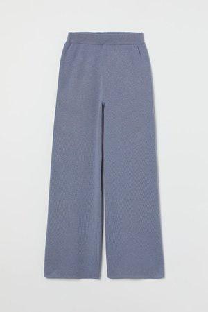 Wide-cut Pants - Blue melange - Ladies   H&M US