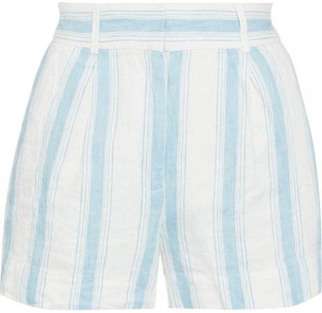 Pleated Striped Linen Shorts