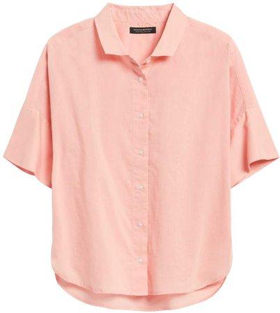 JAPAN EXCLUSIVE Oversized Cotton-Linen Square Shirt