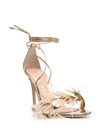 Gianvito Rossi Metallic feather-detail Sandals - Farfetch