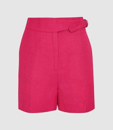 Ada Dark Pink Tailored Shorts With Waist Detail – REISS