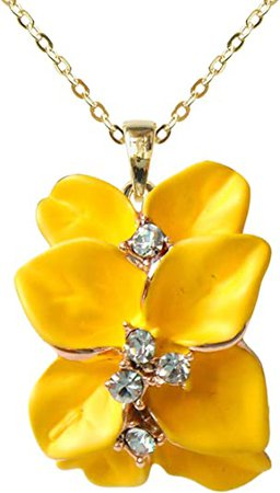 Navachi 18k Gold Plated Clear Crystal Yellow Enamel Leaves Flower Az6076p Pendant Necklace