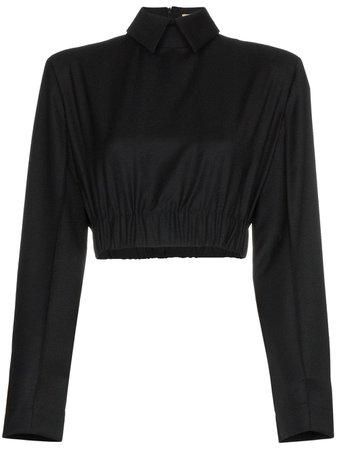 Black Matériel Cropped Blouse | Farfetch.com