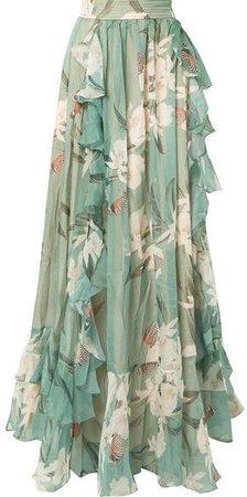 Ruffled Printed Georgette Maxi Skirt - Jade