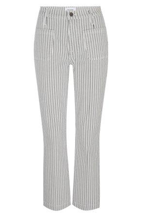 FRAME Le Bardot Stripe High Waist Crop Flare Jeans | Nordstrom