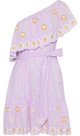 Summer One-shoulder Belted Embroidered Cotton Mini Dress