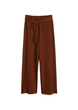MANGO Bow textured trousers