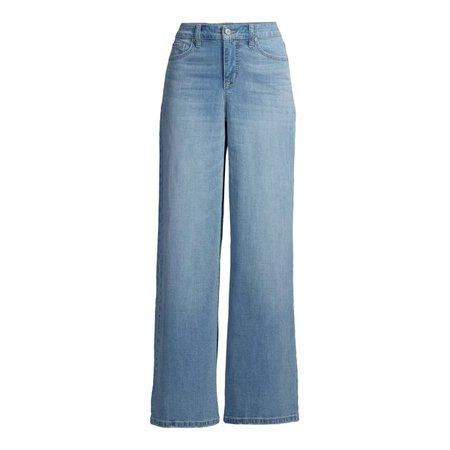 Scoop - Scoop Women's Super Wide Leg Jeans - Walmart.com - Walmart.com