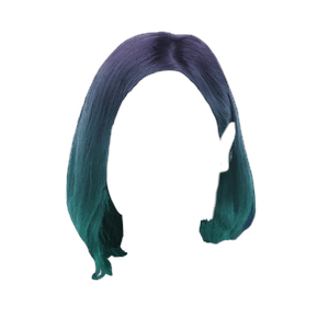 short blue and green hair ombre png