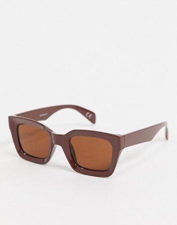 ASOS DESIGN square bevel sunglasses in brown | ASOS