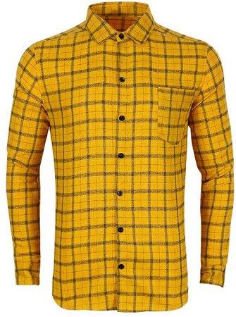 Men's Plaid Flannel Button Down Shirt Colour Block Long Sleeve Casual Regular Fit Patchwork Shirt at Amazon Men's Clothing store