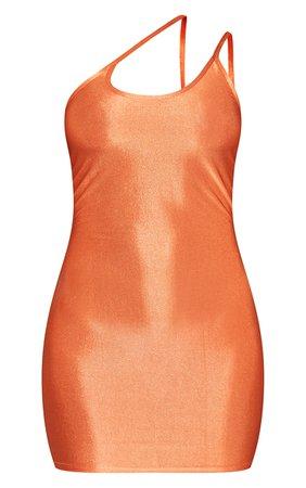 Rust Slinky Asymmetric Strap Detail Bodycon Dress | PrettyLittleThing USA