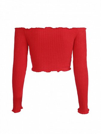 Red Off Shoulder Frill Trim Long Sleeve Ribbed Crop Top   Choies