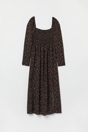Long smocked dress - Black/Yellow floral - Ladies   H&M GB