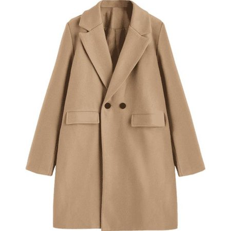 Longline Flap Pockets Wool Blend Coat