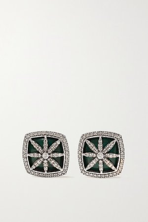 Amrapali | 18-karat white gold, diamond and enamel earrings | NET-A-PORTER.COM