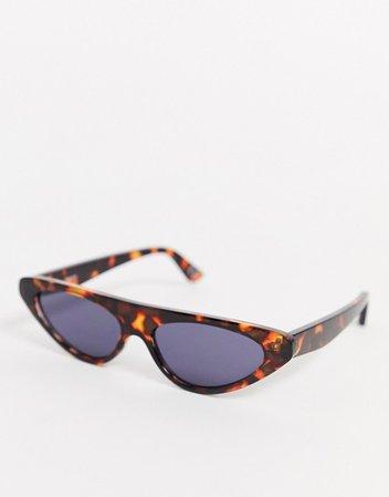 ASOS DESIGN flat brow cat eye sunglasses in tort   ASOS brown