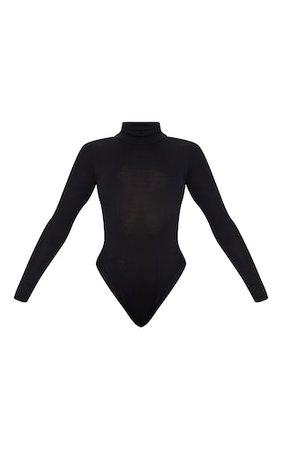 Black Roll Neck Long Sleeve Bodysuit | PrettyLittleThing
