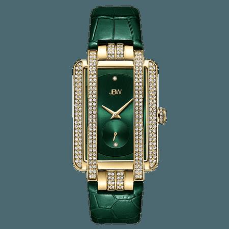 JBW Mink Women's Gold Diamond Watch With Green Strap